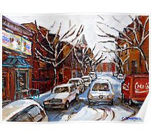 MONTREAL ART FAIRMOUNT BAGEL IN WINTER WITH COCA COLA TRUCK PLATEAU MONTREAL STREET SCENE Poster