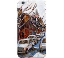 MONTREAL ART FAIRMOUNT BAGEL IN WINTER WITH COCA COLA TRUCK PLATEAU MONTREAL STREET SCENE iPhone Case/Skin