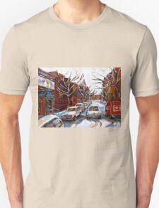 MONTREAL ART FAIRMOUNT BAGEL IN WINTER WITH COCA COLA TRUCK PLATEAU MONTREAL STREET SCENE Unisex T-Shirt