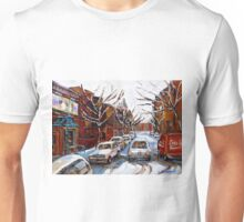 MONTREAL ART FAIRMOUNT BAGEL IN WINTER WITH COCA COLA TRUCK PLATEAU MONTREAL STREET SCENE Unisex T-Shirt