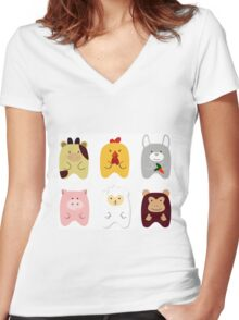 Cute animals Women's Fitted V-Neck T-Shirt
