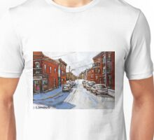 SCENES OF ST.HENRI MONTREAL DEPANNEUR MONTREAL WINTER STREET SCENES CANADIAN PAINTINGS Unisex T-Shirt