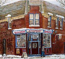 SCENES OF POINTE ST. CHARLES MONTREAL DEPANNEUR RICHARDSON BEST MONTREAL ART CANADIAN PAINTINGS by Carole  Spandau