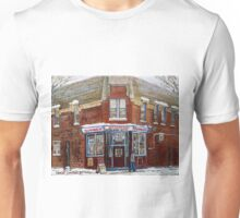 SCENES OF POINTE ST. CHARLES MONTREAL DEPANNEUR RICHARDSON BEST MONTREAL ART CANADIAN PAINTINGS Unisex T-Shirt