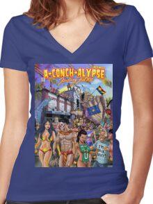 SheVibe Takes On Key West Fantasy Fest Women's Fitted V-Neck T-Shirt