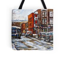 RUE CHARLEVOIX AND RUE CENTRE IN POINTE ST.CHARLES MONTREAL WINTER URBAN CITY SCENES CANADIAN ART Tote Bag
