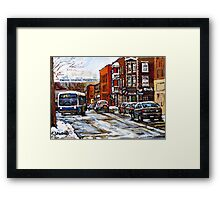 RUE CHARLEVOIX AND RUE CENTRE IN POINTE ST.CHARLES MONTREAL WINTER URBAN CITY SCENES CANADIAN ART Framed Print