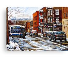 RUE CHARLEVOIX AND RUE CENTRE IN POINTE ST.CHARLES MONTREAL WINTER URBAN CITY SCENES CANADIAN ART Canvas Print