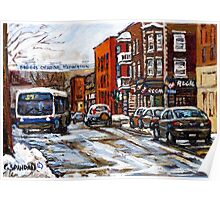 RUE CHARLEVOIX AND RUE CENTRE IN POINTE ST.CHARLES MONTREAL WINTER URBAN CITY SCENES CANADIAN ART Poster