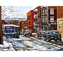 RUE CHARLEVOIX AND RUE CENTRE IN POINTE ST.CHARLES MONTREAL WINTER URBAN CITY SCENES CANADIAN ART Photographic Print