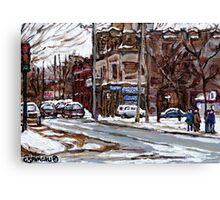 MONTREAL PAINTINGS POITE ST.CHARLES RUE CHARLEVOIOX WINTER STREETS MONTREAL ART Canvas Print