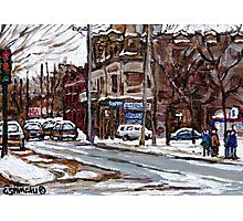 MONTREAL PAINTINGS POITE ST.CHARLES RUE CHARLEVOIOX WINTER STREETS MONTREAL ART Photographic Print