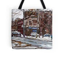 MONTREAL PAINTINGS POITE ST.CHARLES RUE CHARLEVOIOX WINTER STREETS MONTREAL ART Tote Bag