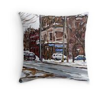 MONTREAL PAINTINGS POITE ST.CHARLES RUE CHARLEVOIOX WINTER STREETS MONTREAL ART Throw Pillow