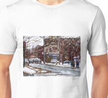 MONTREAL PAINTINGS POITE ST.CHARLES RUE CHARLEVOIOX WINTER STREETS MONTREAL ART Unisex T-Shirt