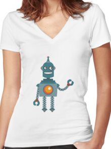 Cute little Robot Women's Fitted V-Neck T-Shirt