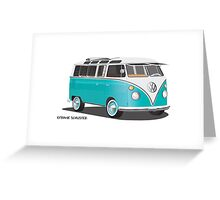 VW Bus T2 Teal Blk Greeting Card