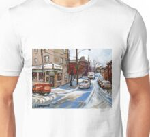 CANADIAN PAINTINGS BY CANADIAN ARTIST MONTREAL ART MONTREAL RESTAURANT CITY SCEN PAINTINGS  Unisex T-Shirt
