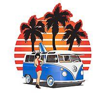 VW Split Window Bus Teal w Girl & Palmes Photographic Print