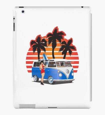 VW Split Window Bus Teal w Girl & Palmes iPad Case/Skin
