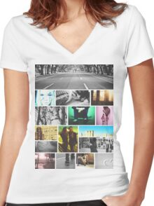 Photo City Collage Women's Fitted V-Neck T-Shirt