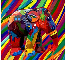 Full color rainbow abstract Elephant Photographic Print