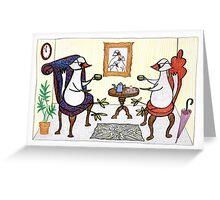 bird tea party Greeting Card