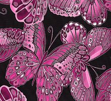 Pink and Black Butterfly Pattern by HavenDesign