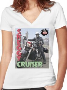 Skeggy Cruiser Women's Fitted V-Neck T-Shirt