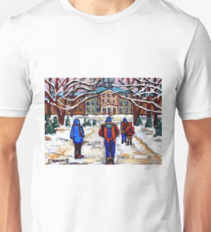 MCGILL UNIVERSITY CAMPUS WINTER CLASSES BEST MONTREAL ART CANADIAN PAINTINGS Unisex T-Shirt