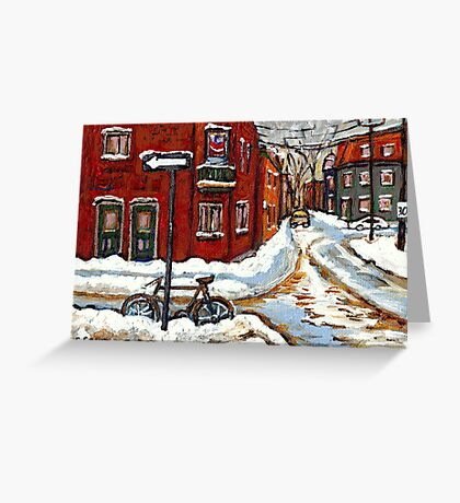 MONTREAL PAINTINGS POINTE ST.CHARLES WINTER STREET WITH SNOW AND BIKE  Greeting Card