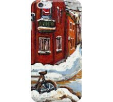 MONTREAL PAINTINGS POINTE ST.CHARLES WINTER STREET WITH SNOW AND BIKE  iPhone Case/Skin