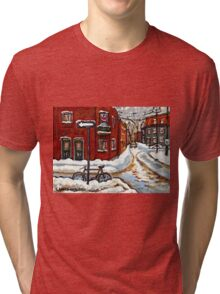 MONTREAL PAINTINGS POINTE ST.CHARLES WINTER STREET WITH SNOW AND BIKE  Tri-blend T-Shirt