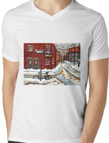 MONTREAL PAINTINGS POINTE ST.CHARLES WINTER STREET WITH SNOW AND BIKE  Mens V-Neck T-Shirt