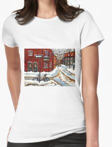 MONTREAL PAINTINGS POINTE ST.CHARLES WINTER STREET WITH SNOW AND BIKE  Womens Fitted T-Shirt