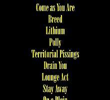Nirvana Nevermind Tracklist by ambivalentidiot