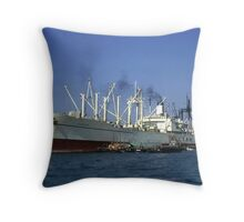 Cargo Ship in Hong Kong Harbour. Throw Pillow