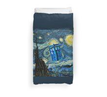 British Blue phone box painting Duvet Cover