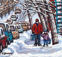 FATHER AND SON WINTER POINTE ST.CHARLES PAINTINGS MONTREAL ART CANADIAN PAINTINGS by Carole  Spandau