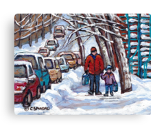FATHER AND SON WINTER POINTE ST.CHARLES PAINTINGS MONTREAL ART CANADIAN PAINTINGS Canvas Print