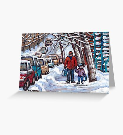 FATHER AND SON WINTER POINTE ST.CHARLES PAINTINGS MONTREAL ART CANADIAN PAINTINGS Greeting Card