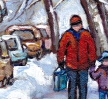 FATHER AND SON WINTER POINTE ST.CHARLES PAINTINGS MONTREAL ART CANADIAN PAINTINGS Sticker