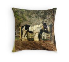 Twin Clydesdales Throw Pillow