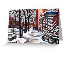 WINTER SNOWSTORM VERDUN MONTREAL STREET SCENES CANADIAN ART Greeting Card