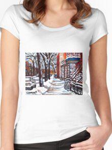 WINTER SNOWSTORM VERDUN MONTREAL STREET SCENES CANADIAN ART Women's Fitted Scoop T-Shirt