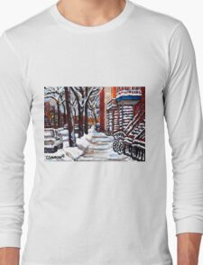 WINTER SNOWSTORM VERDUN MONTREAL STREET SCENES CANADIAN ART Long Sleeve T-Shirt