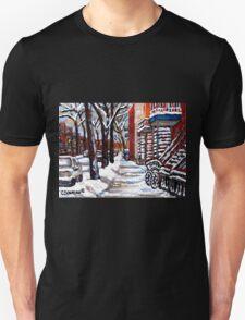 WINTER SNOWSTORM VERDUN MONTREAL STREET SCENES CANADIAN ART Unisex T-Shirt
