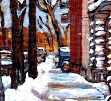 WINTER SNOWSTORM VERDUN MONTREAL STREET SCENES CANADIAN ART Sticker
