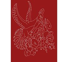 Red Pokemon (Generations 1/2) (White Outline) Photographic Print