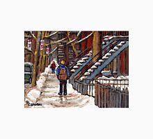 CANADIAN WINTER CITY SCENES MONTREAL ART VERDUN WALK NEAR WINDING STAIRCASES Unisex T-Shirt